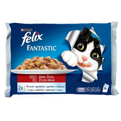 Felix Fantastic hrana za mačke sa govedinom i piletinom u želeu 4x100g