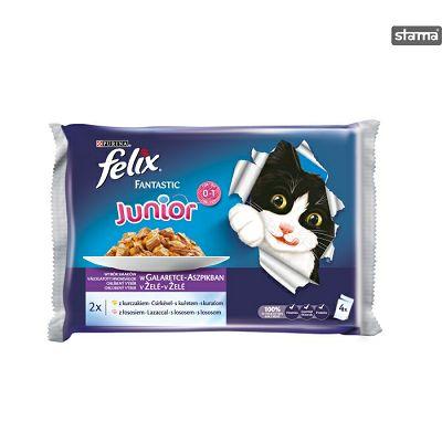 Felix Fantastic junior hrana za mačiće sa piletinom i lososom u želeu 4x100g