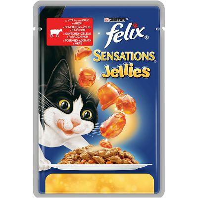 Felix Sensations Jellies hrana za mačke sa govedinom i paradajzom u želeu 100g