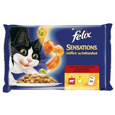 Felix Sensations Jellies hrana za mačke sa govedinom i piletinom u želeu 4x100g