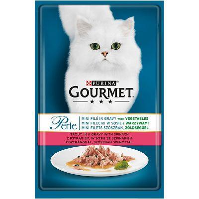 Gourmet Perle hrana za mačke mini file sa pastrmkom i špinatom u umaku 85g
