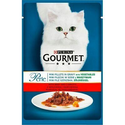Gourmet Perle hrana za mačke mini file sa govedinom i povrćem u umaku 85g