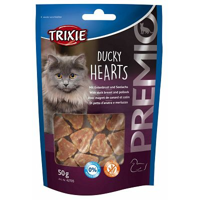 Trixie Premio Ducky Hearts with Breast & Pollock /  patka i riba poslastica za mačke 50g